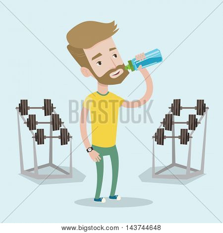 Sportive hipster man with the beard drinking water. Man with bottle of water in the gym. Sportsman drinking water from the bottle. Vector flat design illustration. Square layout.