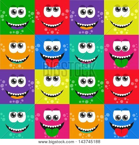 Square cartoon monsters pattern. Funny monsters face background. Handdrawn monsters faces.
