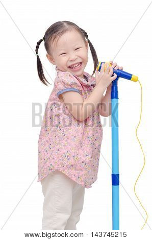 Little asian girl singing with microphone over white