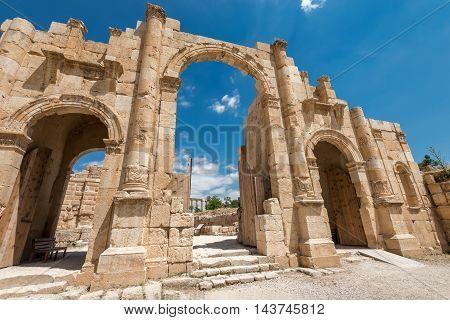 The Arch of Hadrian in Jerash Jordan.