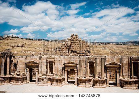 Theater of the Ancient Roman city of Gerasa Jerash Jordan