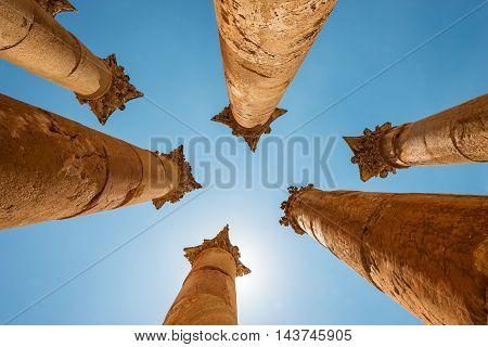 Roman columns in the Jerash (Gerasa) Jordan. Temple of Artemis in Jerash the Gerasa of Antiquity