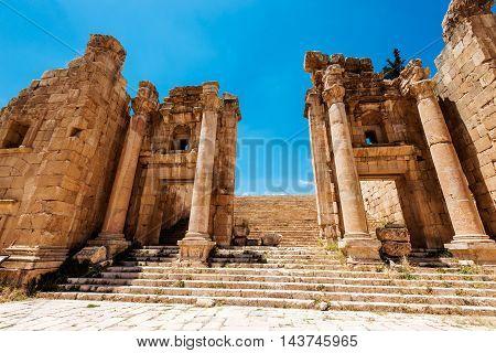 Roman ruins in the Jordanian city of Jerash, (Gerasa of Antiquity) Jordan