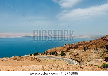 Landscape view of the Dead Sea coastline. Dead Sea Jordan.