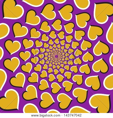 Optical illusion background. Golden hearts are moving circularly from the center on purple background. Golden hearts background.