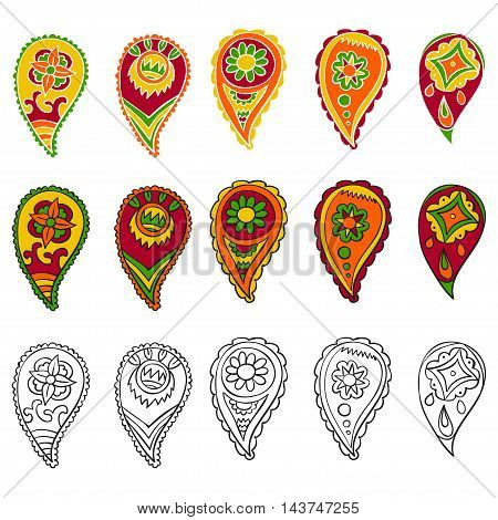 Paisley - colorful vector collection, isolated on white background set.