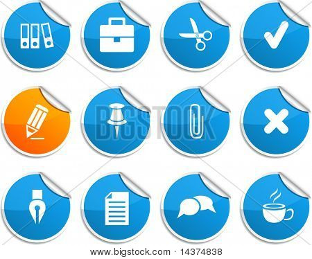 Office set of round glossy stickers.
