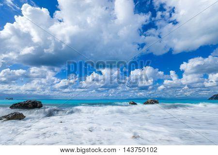 The famous Kathisma beach in Lefkada island Greece