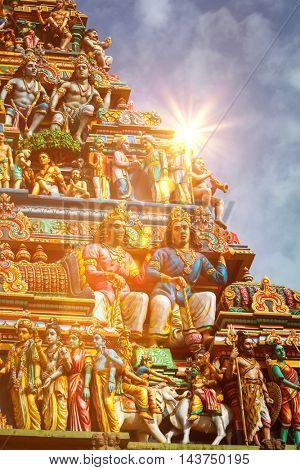 Gopuram (tower) of Hindu temple  Kapaleeshwarar., Chennai, Tamil Nadu, India