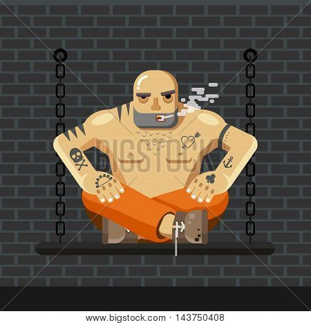 Flat Prisoner. Man in orange prison clothes sitting on a bench with chain and smoke - vector illustration.