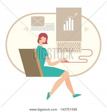 woman working on a document on your computer, business concept