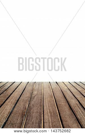 Rustic wood table in front empty space. Wooden table isolated on a white background