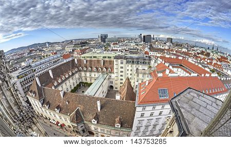 Fisheye Lens Panoramic Picture Of Vienna, Austria.