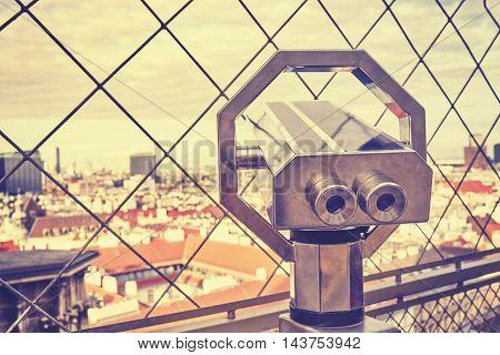 Tourist Binoculars Over Vienna Downtown.