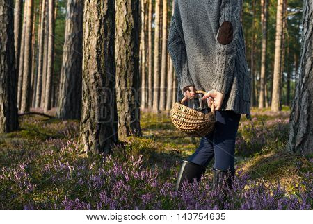 Girl standing back to camera in the forest and holding a basket. Mushroomer.