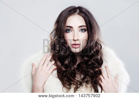 beautiful Cute Woman with Curly Brown Hairstyle