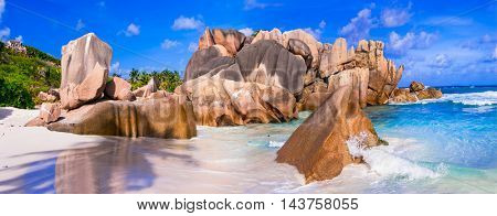 Beautiful unique rocky beach Anse Cocos in La digue island, Seycheles