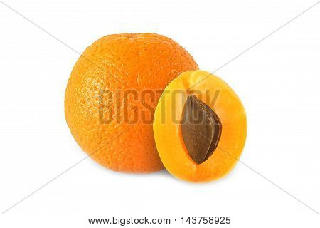 whole orange and half apricot with stone isolated on white background with clipping path