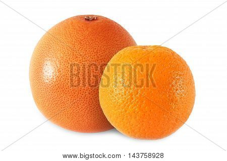 whole orange and grapefruit isolated on white background with clipping path