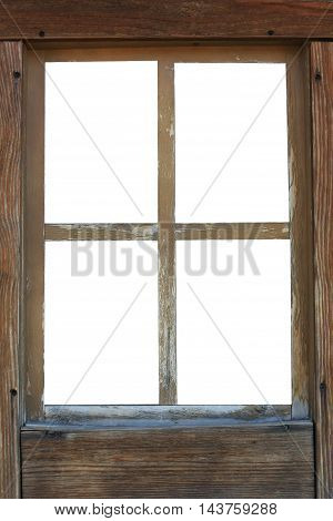 old wooden window frame isolated in white