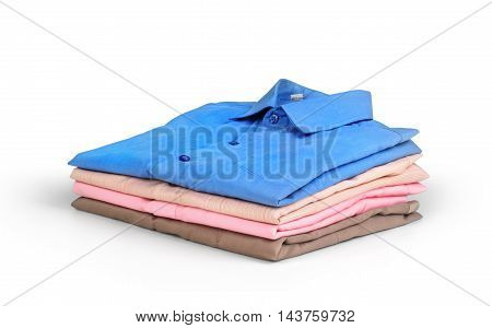 Stack of colored men's shirts isolated on white background