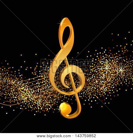 Treble clef on shiny background, volume golden beautiful  illustration for your design on musical theme