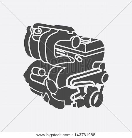 Car engine icon. Single car repair part symbol.