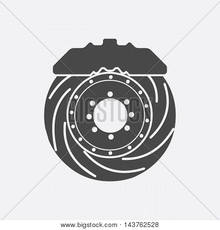 Brake shoe icon black style. Single silhouette auto parts icon from the big car set - stock vector