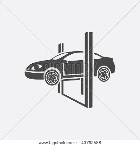 Repairing a car lifted on auto hoist icon black. Single car repair symbol.