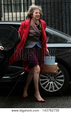LONDON, UK, FEB 02, 2016: Theresa May MP seen arriving for a cabinet meet in Downing Street