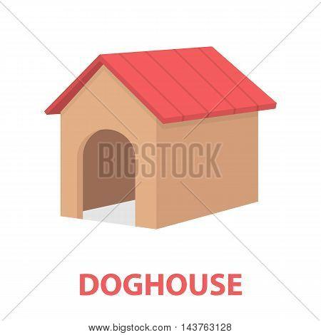 Doghouse vector illustration icon in cartoon design