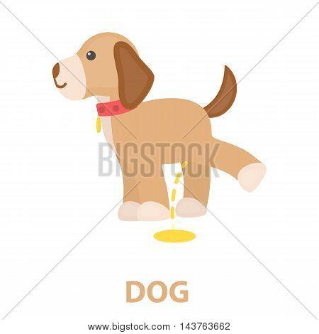 Pissing dog vector illustration icon in cartoon design
