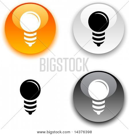Bulb glossy round vector buttons.