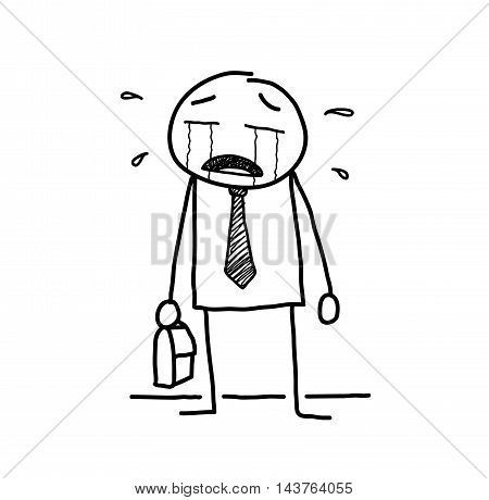 Crying Businessman Stick Figure Doodle. A hand drawn vector doodle illustration of a businessman crying.