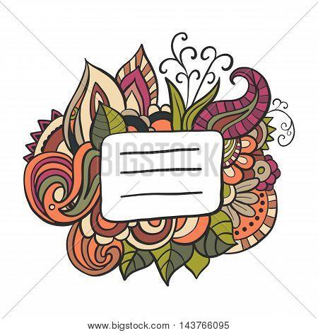 Notebook or copybook title badge. Doodle floral illustration.