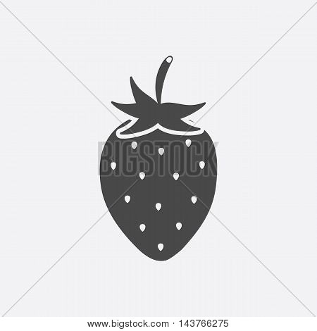 Strawberry icon black. Singe fruit icon from the food collection.
