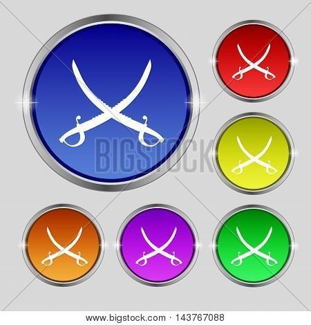 Crossed Saber Icon Sign. Round Symbol On Bright Colourful Buttons. Vector