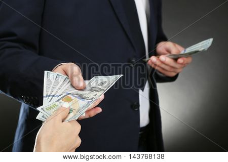 Businessman receiving bribe. Corruption concept