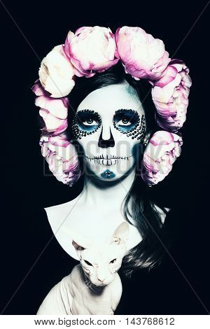 Halloween Woman with Sugar Skull Makeup on black background