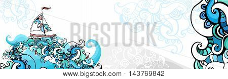 vector illustration of a colorful background with a sailboat