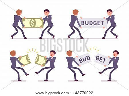 Set of four businessmen pairs in a formal wear pulling and tearing a papernote and a word budget. Cartoon vector flat-style illustration