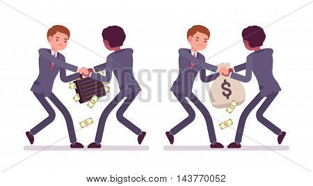 Set of two businessmen pairs in a formal wear struggling for a case and sack full of money. Papernotes are falling down. Cartoon vector flat-style illustration