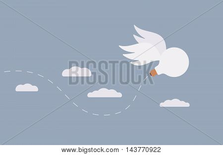 An idea, a bulb with wings is flying away in the sky. Cartoon vector flat-style concept illustration