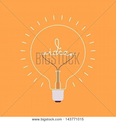 Shining light bulb with a word Idea from the metal wire inside. Orange background. Consept cartoon flat-style illustration