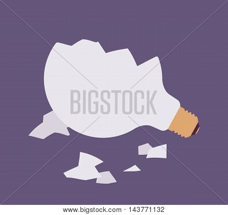 Broken light bulb against purple background, glass fragments are around. Vector flat-style illustration