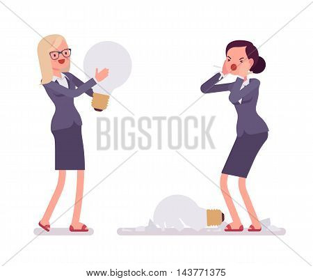 Businesswomen with light bulbs, one is broken. One is broken, glass fragments are around. Vector cartoon concept flat-style illustration