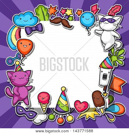 Carnival party kawaii background. Cute sticker cats, decorations for celebration, objects and symbols. poster