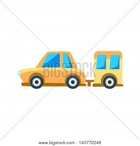 Yellow Sedan With Trailer Toy Cute Car Icon. Flat Vector Transport Model Simple Illustration Isolated On White Background.