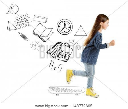 Running little girl and pictures of school theme isolated on white