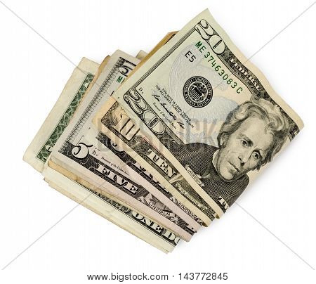 Wad of money with shadow on white background